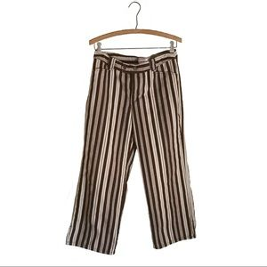 Brown & Beige Stripe Capri Pants